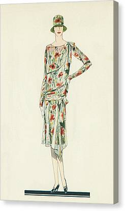 Flapper In An Afternoon Dress Canvas Print by American School