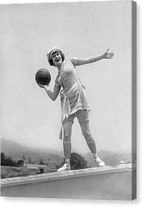 Flapper Playing Basketball Canvas Print by Underwood Archives