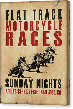 Flat Track Motorcycle Races Canvas Print by Mark Rogan