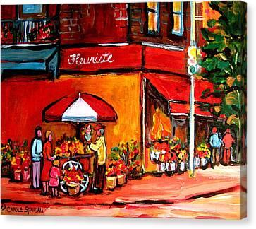 Fleuriste Bernard Florist Montreal Canvas Print by Carole Spandau
