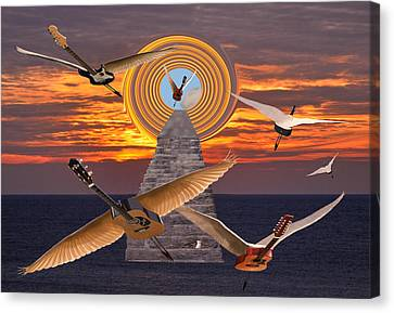Rocks Canvas Print featuring the mixed media Flight Of The Guitars by Eric Kempson