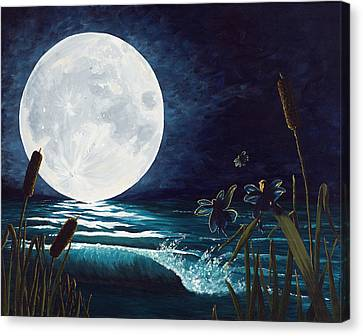Flight Of The Moon Faries Canvas Print by Deborah Ellingwood