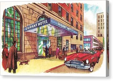 Flint Durant Hotel Entrance - Michigan History Restoration Canvas Print by Steven Covieo