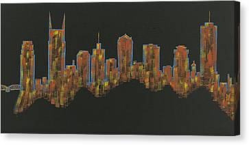 Floating Nashville Skyline Bl Canvas Print by Helen Prater