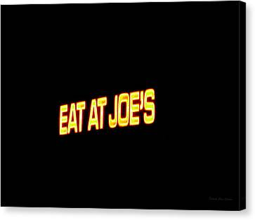 Floating Neon - Eat At Joes Canvas Print by Deborah  Crew-Johnson