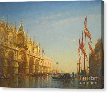 Floods In Piazza San Marco Venice Canvas Print by MotionAge Designs