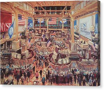 Floor Of The Nyse Canvas Print by Kamil Kubik