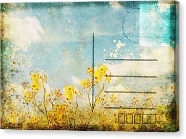 Floral In Blue Sky Postcard Canvas Print by Setsiri Silapasuwanchai