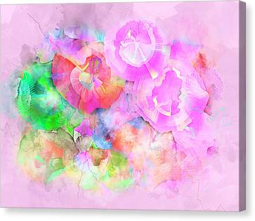Pretty In Pink - Floral Pink Abstract Expressionist Digital Watercolor Painting Canvas Print by Rayanda Arts
