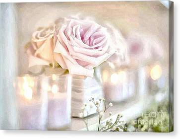 Floral Soft With Candles Canvas Print by Catherine Lott