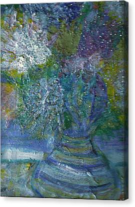 Floral With Cracked Vase Canvas Print by Anne-Elizabeth Whiteway