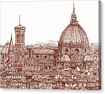 Florence Duomo In Red Canvas Print by Adendorff Design