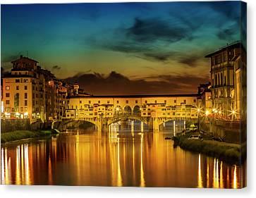 Florence Ponte Vecchio At Sunset Canvas Print by Melanie Viola