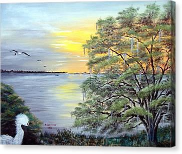 Florida Bay Sunrise Canvas Print by Riley Geddings