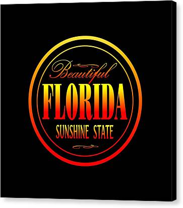Florida Sunshine State - Tshirt Design Canvas Print by Art America Online Gallery