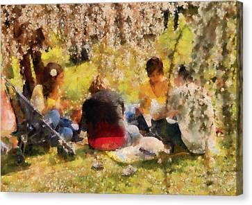 Flower - Sakura - Afternoon Picnic Canvas Print by Mike Savad