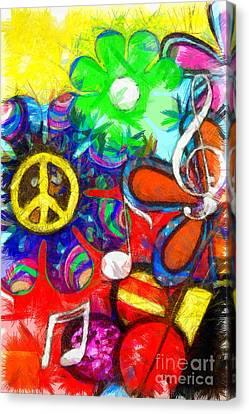 Flower Child Peace Love Pencil Canvas Print by Edward Fielding