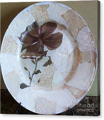 Flower Decopage Plate Canvas Print by Marsha Heiken