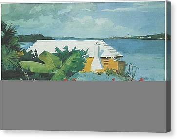 Flower Garden And Bungalow Bermuda Canvas Print by Winslow Homer