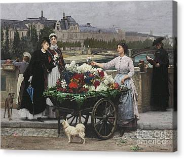 Flower Seller On The Pont Royal Canvas Print by Celestial Images