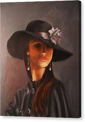 Flowered Hat Plus Attitude Canvas Print by Tom Shropshire