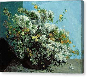 Flowering Branches And Flowers Canvas Print by Gustave Courbet