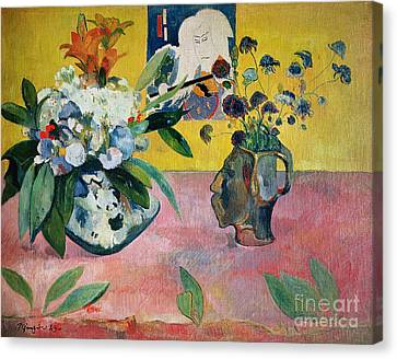 Flowers And A Japanese Print Canvas Print by Paul Gauguin