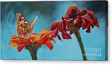 Flowers And Butterfly Canvas Print by Janice Wright
