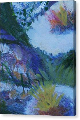 Flowers Bending With The Wind Canvas Print by Anne-Elizabeth Whiteway