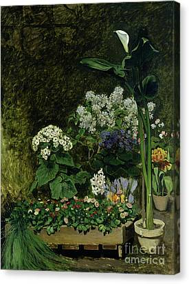 Flowers In A Greenhouse Canvas Print by Pierre Auguste Renoir