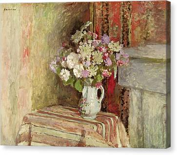 Flowers In A Vase Canvas Print by Edouard Vuillard