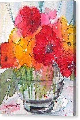 Flowers In Clear Glass Canvas Print by Donna Cary