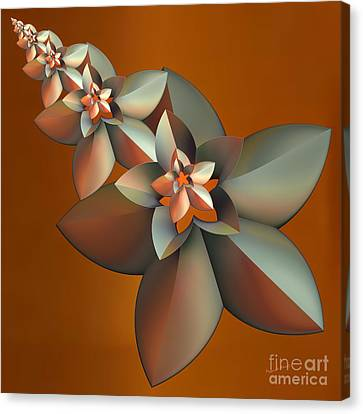 Flowers On Bronze Canvas Print by Deborah Benoit