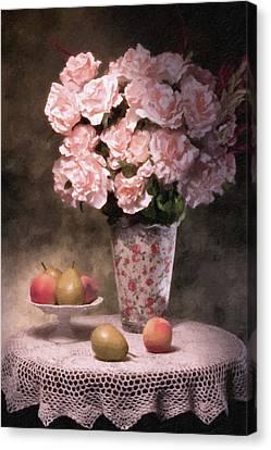 Flowers With Fruit Still Life Canvas Print by Tom Mc Nemar