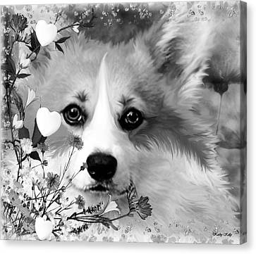 Fluffy Corgi In Flowers Canvas Print by Kathy Kelly
