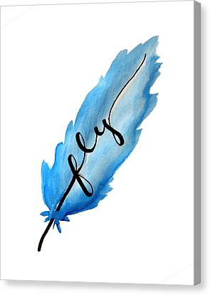 Fly Blue Feather Vertical Canvas Print by Michelle Eshleman