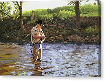 Fly Fisherman Canvas Print by Kenneth Young