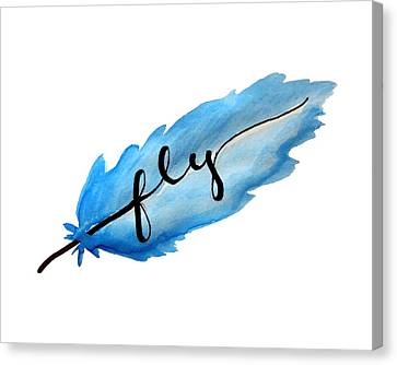 Fly Watercolor Feather Horizontal Canvas Print by Michelle Eshleman