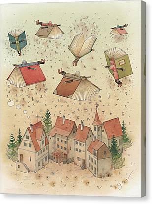 Flying Books Canvas Print by Kestutis Kasparavicius