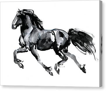 Running Horses Canvas Print featuring the drawing Flying Friesian by Mark Adlington