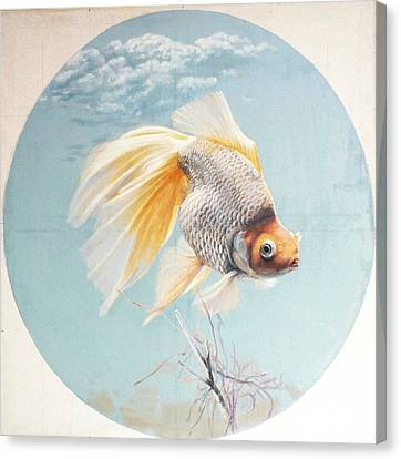 Flying In The Clouds Of Goldfish Canvas Print by Chen Baoyi