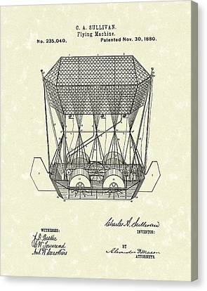 Flying Machine 1880 Patent Art Canvas Print by Prior Art Design