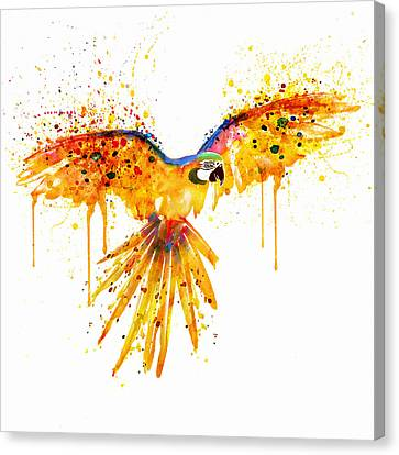 Flying Parrot Watercolor Canvas Print by Marian Voicu