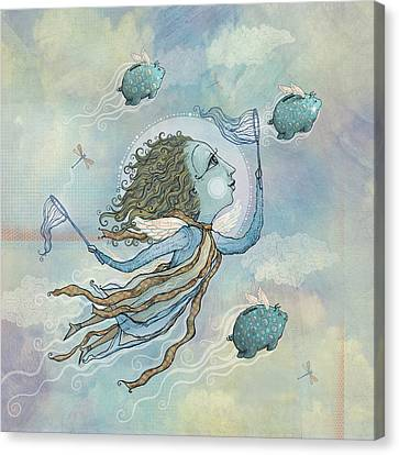 Flying Piggies Canvas Print by Dennis Wunsch
