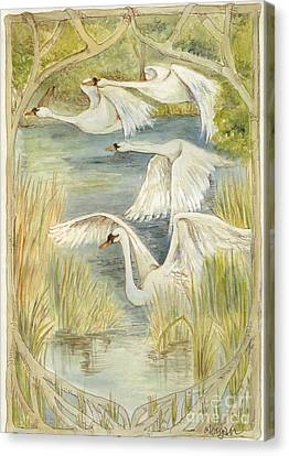 Flying Swans Canvas Print by Morgan Fitzsimons