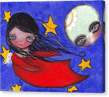 Flying With The Moon Canvas Print by  Abril Andrade Griffith