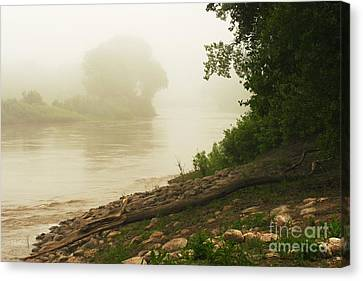 Fog Along The Red Canvas Print by Steve Augustin