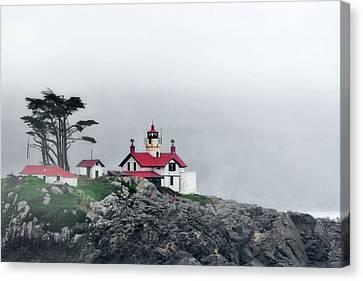 Fog Comes Rolling In - Battery Point Lighthouse - Crescent City Ca Canvas Print by Christine Till