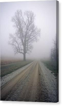 Fog Moves In On A Gravel Country Road Canvas Print by Joel Sartore