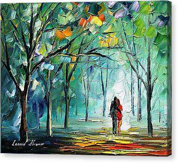 Fog Of Love - Palette Knife Oil Painting On Canvas By Leonid Afremov Canvas Print by Leonid Afremov